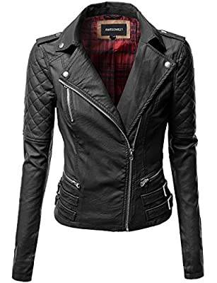 Quilted Sleeve Classic Rider Style Faux Leather Jackets Black L