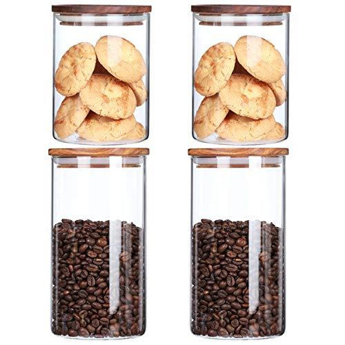 KKC ガラス キャニスター セット ガラス保存瓶 密閉保存容器 コーヒー豆 、ナッツ、スナック、食品貯蔵タンク木製の蓋 密封 気密 4個セット (1150ML 2個 ;750ML2個)