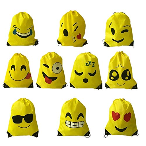 Voarge 10 Stück Kinder Emoji Turnbeutel Rucksack, Gastgeschenke Beutel, für Kindergeburtstag Partytüten Geschenktüte Partyzubehör Mitgebsel Weihnachten Halloween