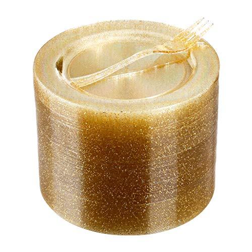 120 Guests Gold Glitter Plastic Dessert Plates with Dessert Forks, 6.5 inch Disposable Dessert Plates, Gold Glitter Appetizer Plates with Small Forks
