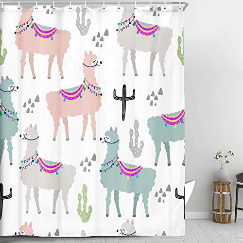 NYMB Cortina de ducha de llamas para baño infantil, linda llama y cactus sobre un fondo blanco, cortina de ducha de alpaca con ganchos, cortina de ducha de tela impermeable para...