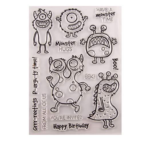 WuLi77 Monster-Silikon-Stempel für Karten-Herstellung Schablonen DIY Prägung Foto Album Basteln Kunst Handarbeit Geschenk Scrapbooking