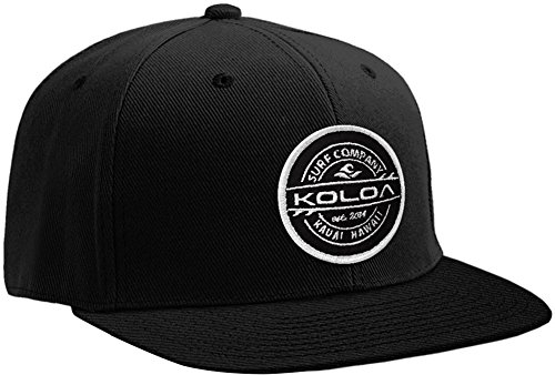 Joe's USA Koloa Surf Thruster Patch Logo Solid Snapback Hat-Black/w