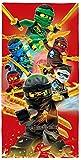 BERONAGE Lego Ninjago Badetuch Motiv Champion Fire 70 cm x 140 cm - Neu & Ovp - Strandlaken - Strandtuch - Handtuch - Duschtuch - Velourstuch - 100% Baumwolle