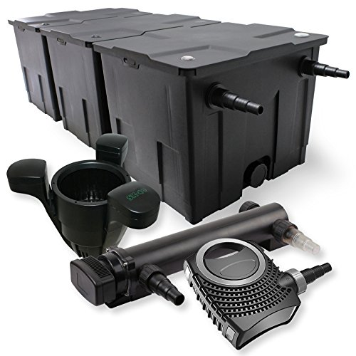 SunSun 3-Kammer Filter Set 90000l 36W UVC 3er Teich Klärer NEO8000 70W Pumpe Skimmer