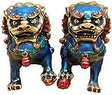 HYBUKDP Estatuas Un par de Color de Cobre Puro de Beijing Leones Fu Foo Perros, Fengshui Guardián Mal de China de Cobre de Bronce Cloisonne Gild Escultura de la Mascota