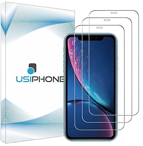 """UsiPhone Lot de 3 Verre Trempé Compatible avec Iphone 11 - Vitre Iphone XR - Film Ecran en Verre Trempe 9h - Protection Iphone 11 - Protege Écran Iphone XR (6.1"""") Ecran Incassable"""