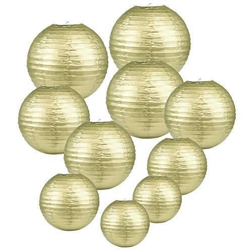 LIHAO goldene Papier Laterne Lampions rund Lampenschirm Hochtzeit Dekoration Papierlaterne - (10er Packung) (Verschiedene Größen) (Verpackung MEHRWEG)