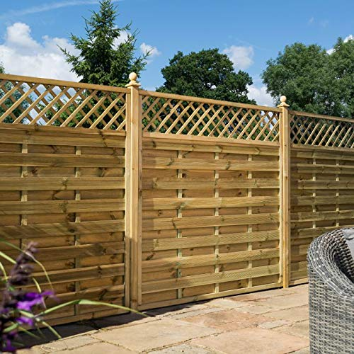 Rowlinson 6ft x 5ft Halkin Garden Screen Fence Panel Pack of 3 - Self Assembly