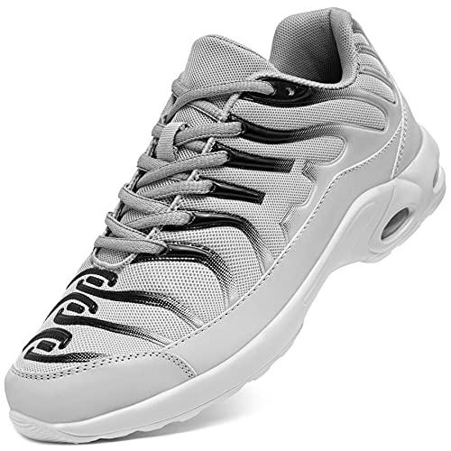 [DYKHMILY] 安全靴 メンズ レディース 軽量 エアクッション 作業靴 衝撃吸収 あんぜん靴 鋼先芯 踏抜き防止 おしゃれ 通気 スニーカー セーフティーシューズ(26.5cm,フロストグレー,D91825)