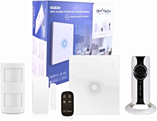 DIYTECH Kit Alarma WiFi con cámara HD WiFi sensor de PIR contacto puerta/ventana mando Inhibidor de Frecuencia integrado. Compatible con CHUANGO App gratuita. Soporte en Español.