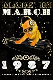 Made In March 1987 - Limited Edition Notebook: Cat On DJ Playing Music With Disco Light Compostion, March Planner: Funny Kitty Cat Dj And Disco Lights Journal-March Planner