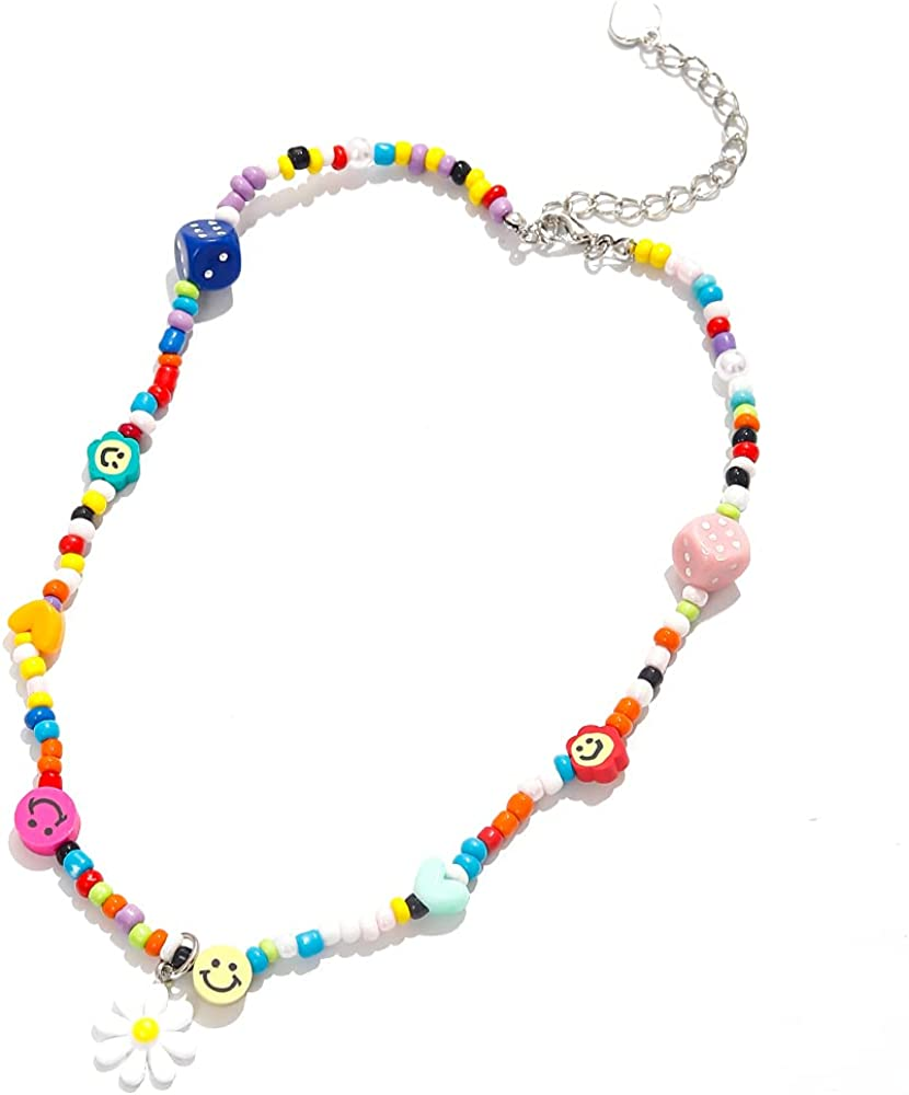 Cute Neckalce Funny Weird Necklace Colorful Beaded Necklace Smile Face Mushroom Lollipops Butterfly Gummy Bear Boba Tea Heart Beaded Necklace Indie Jewelry for Girls Women