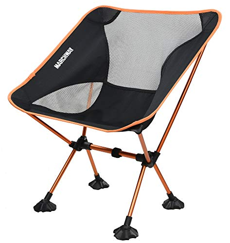 MARCHWAY Ultralight Folding Camping Chair with AntiSinking Wide Feet Portable Compact for Outdoor Camp Beach Travel Picnic Hiking Lightweight Backpacking Orange