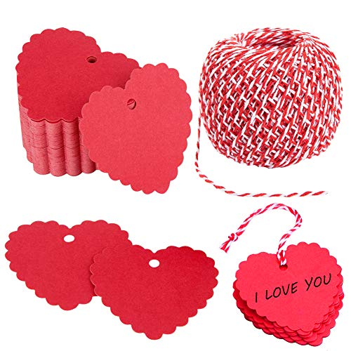 100PCs Valentine Gift Tags Heart Kraft Paper Gift Tags with String for Wedding Party Gift Wrapping Hang Label