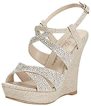 David s Bridal High Heel Wedge Sandal with Crystal Embellishment Style BALLE8 Nude Metallic 10