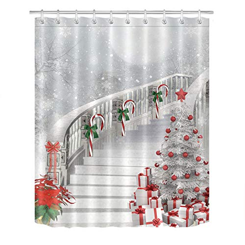 LB Merry Christmas Season Eve New Year Decorative Decor Gift Shower Curtain Polyester Fabric 3D Digital Printing 60x72 White Night Snow Candy Cane Tree Stairs Bathroom Bath Liner Set