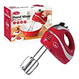 Quest 35820 Multi Use 5-Speed Hand Mixer with Chrome Beaters, Dough Hooks and Balloon Whisk Attachments, 300W, Red, 300 W