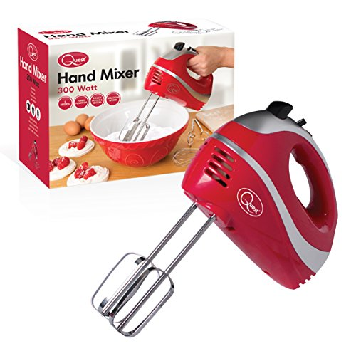 Quest 35820 Multi Use 5-Gang Handmixer mit Chromschlägeln, Knethaken und Ballonbesen, 300 W, rot, 300 W