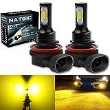 NATGIC H8 H9 H11 LED Bombillas Antiniebla 75W 3570 Chips Integrados CSP 3000K Amarillo Dorado y 2400LM para Bombillas Antiniebla Luz de Conducción Diurna Lámpara de Conducción DRL (Paquete de 2)