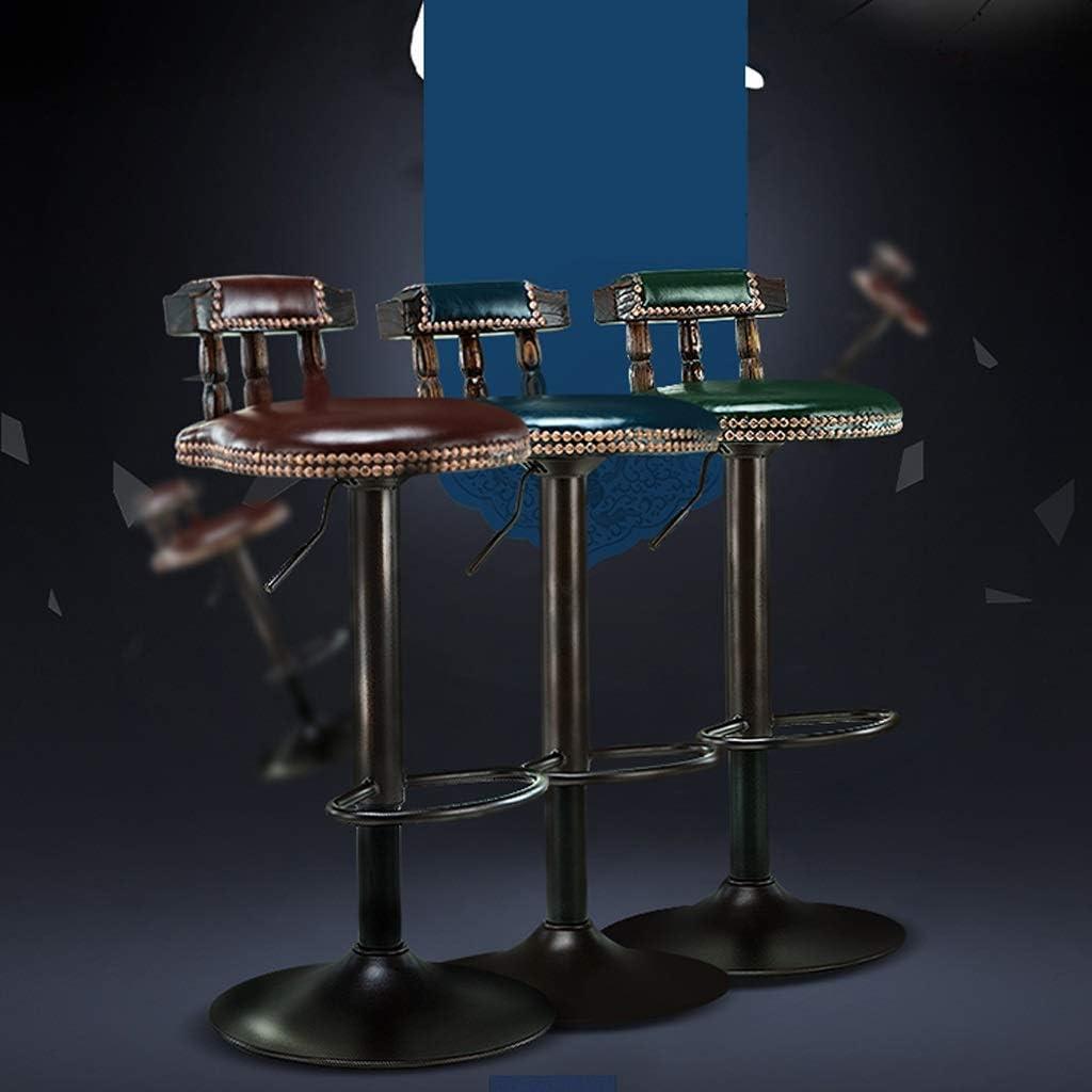 DHR- Tabouret de bar en bois massif Ascenseur de chaise de bar Tabouret de bar rotatif Chaise de bar rétro pour la réception Barstools & Tabouret haut (Couleur : C) E