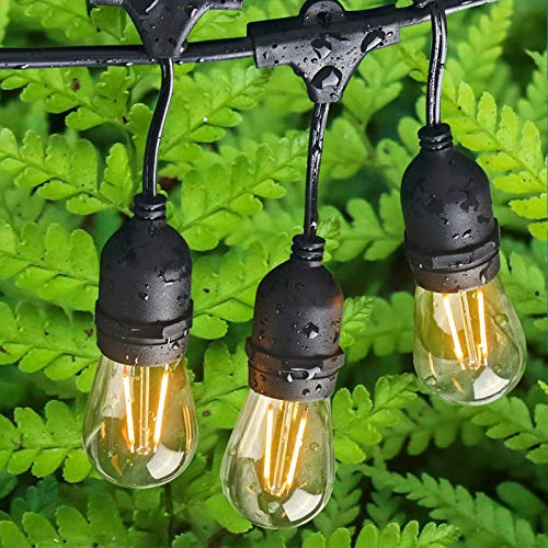 Outdoor Edison Lights Commercial Weatherproof - Patio Lights 48FT with 17 LED Bulbs 15 Sockets Outdoor String Lights for Backyard Deck Party Lighting