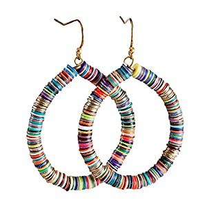 Bohemian Multi-Colored Sequin Hoop Gold Earrings – SPUNKYsoul Collection…