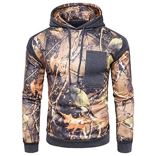 MENAB Herren Camouflage Zipper Langarm Kapuzenpullover Camouflage Hoodie Jacke mit Kapuze Sweatshirt Tops Baumwolle Jacke Outwear Sport Mantel Hose, Herbst Winter Warme Mode Zipper Kapuzenpulli