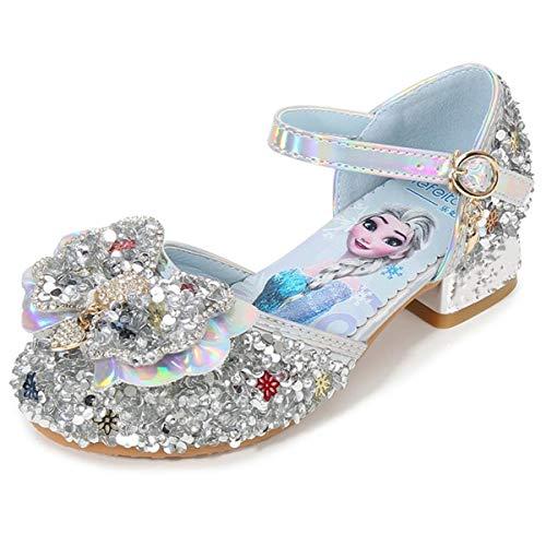 AIYIMEI Sandalias Zapatos de Tango Latino para Niños Vestir Fiesta Princesa de Tacón Primavera Verano Zapatillas de Baile Cosplay Fiesta Zapatos de Lentejuelas Elsa Princess EU24-36