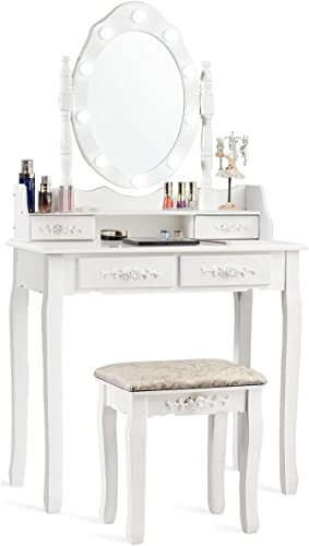 CHARMAID Vanity Set with 10 LED Lights and 4 Drawers, Storage Shelf, Detachable Top, Bedroom Bathroom Dressing Makeup Table with Cushioned Stool for Girls Women (White)