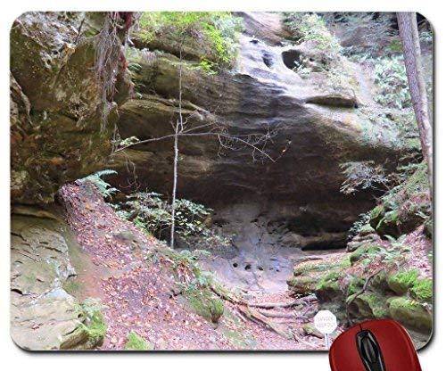 Mauspad/Mauspad mit Wasserfall im Herbst, Maschlings-Asche-Höhle 9,25 x 7,75 cm