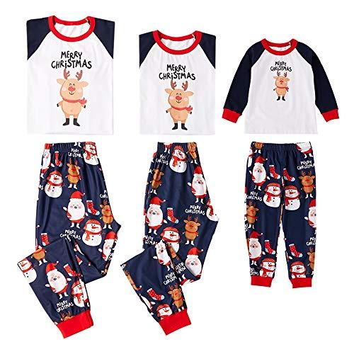 Coincidencia De Familia Pijamas De Navidad PJ, Cartas Y Patrón De Elk Manga Larga PJ, Camiseta Blanca Del Muñeco De Nieve Y Modelo Pantalones 2-Piece, Camisones De Algodón Regalo ( Size : XL(women) )