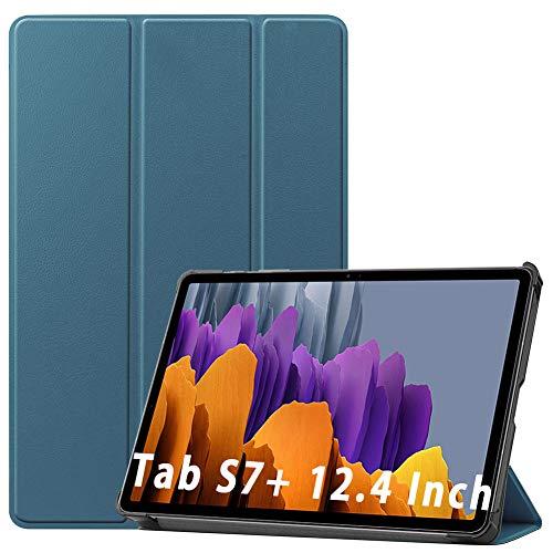 NUPO Hülle für Samsung Galaxy Tab S7 Plus 12,4 Zoll 2020, Slim Cover Schutzhülle PU Ultra Leightweight Flip Hülle mit Standfunktion, Ideal Geeignet für Galaxy Tab S7+ T970/T975/T976, Dunkelgrün
