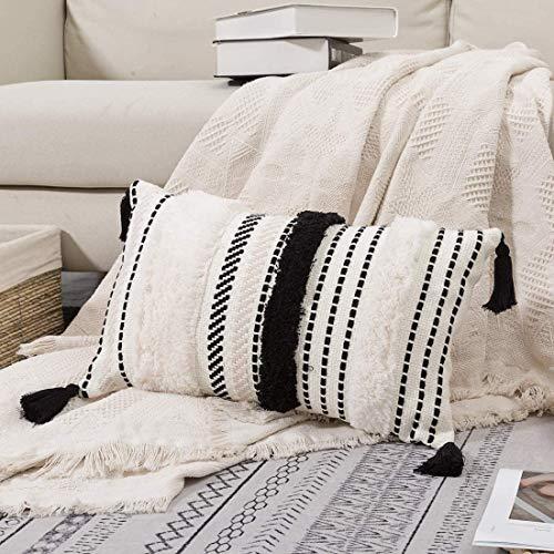 Funda de cojín bohemia decorativa para el hogar, con borla, inserto, muy suave, para sofá, dormitorio, salón, coche, oficina, 30 x 50 cm (negro y blanco)
