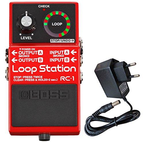 Boss RC-1 Loop Station - Pedal de loop, incluye fuente de alimentación Keepdrum de 9 V