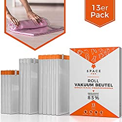 SpaceFox Vacuum Bags for Rolling - Set of 13 - Vacuum without Vacuum Cleaner - 4 Large 50x70cm + 4 Medium 38x54cm + 5 Small 29x34cm - Travel Bags - Reusable Garment Bags