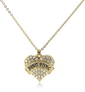 Inspired Silver - Gold Pave Heart Charm 18 Inch Necklace with Cubic Zirconia Jewelry