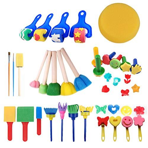 BSTQC Malpinsel-Kit Kind Lernen Malpinsel-Kit 30 Stück Spaß Kind Früh Lernen Schwamm Malpinsel-Kit