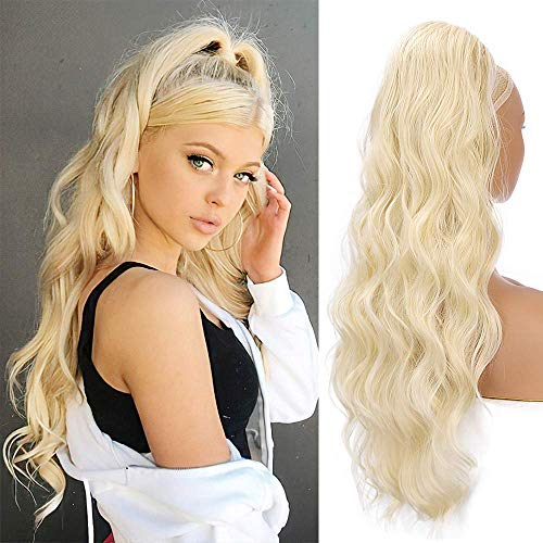 Pferdeschwanz Haarteil Extension mit Kordelzug Lang Blond Perücke Natürliches Locken Ponytail ca.62cm 613# 018C