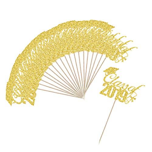 Fenteer 20stk. Glitzerpapier Picks Topper Aufsatz Stecker Zahnstocher mit Doktorhut Class of 2019 Design für Kuchen Torten Cupcake Muffin - Golden