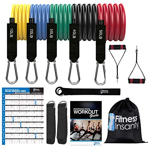 Resistance Bands Set  5Piece Exercise Bands  Portable Home Gym Accessories  Stackable Up to 150 lbs  Perfect Muscle Builder for Weights Dumbbells Arms Leg Chest Back Belly Glutes