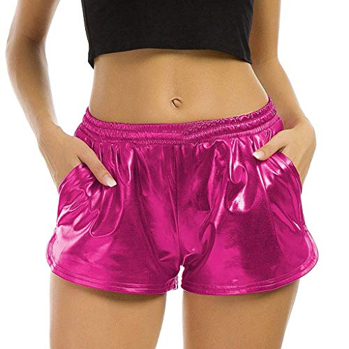 TWIFER Damen Hohe Taille Yoga Sport Shorts 2019 Sommer Kurz Hosen Shiny Hotpants Metallic Leggings (XL, Pink)