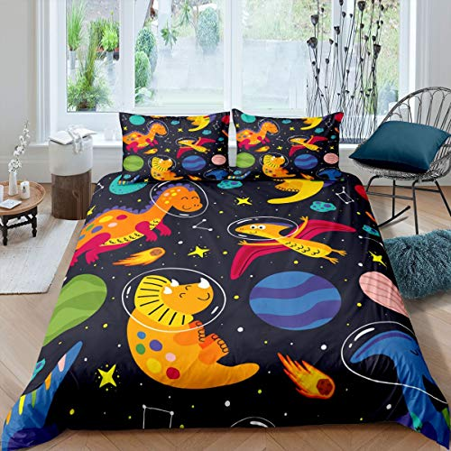 Loussiesd Boys Dinosaur Bedding Set Cute Cartoon Dino Duvet Cover Set for Kids Teens Girls Galaxy Universe Planets Animals Comforter Cover Wildlife Decor Quilt Cover Bedroom 3Pcs Double Size