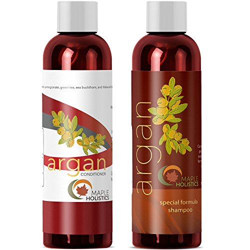 Argan Oil Shampoo and Hair Conditioner Set - Argan Jojoba Almond Oil Peach Kernel Keratin - Sulfate...