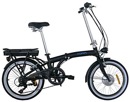 """Coppi REPZL20206 Bicicletta Elettrica E-bike a Pedalata Assistita 20"""", Nero"""
