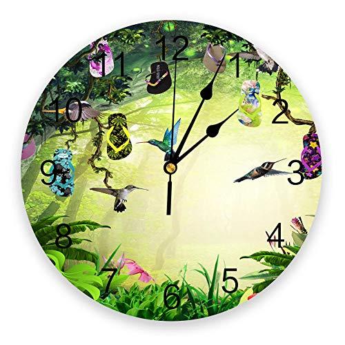 Reloj De Pared Forest Asuka Tree Vines Zapatillas de Flores Reloj de Pared Creativo Reloj Moderno silencioso Reloj Sala de Estar Decoración del hogar Reloj de Pared