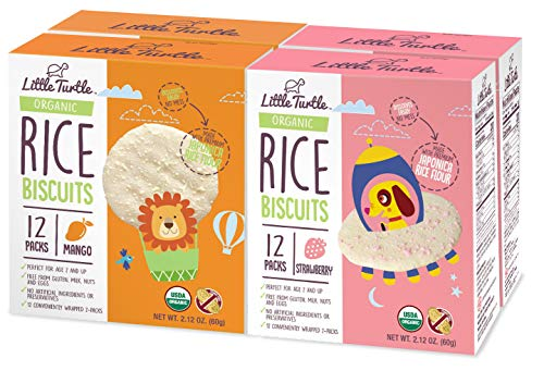 Little Turtle Rice Biscuits Combo Pack, Organic Mango & Strawberry Flavor, 12 wrapped 2 Pack, 4 Count