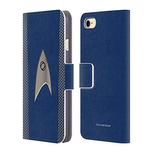 Officiële Star Trek Discovery Wetenschap Uniformen Lederen Book Portemonnee Cover Compatibel voor Apple iPhone 7 / iPhone 8