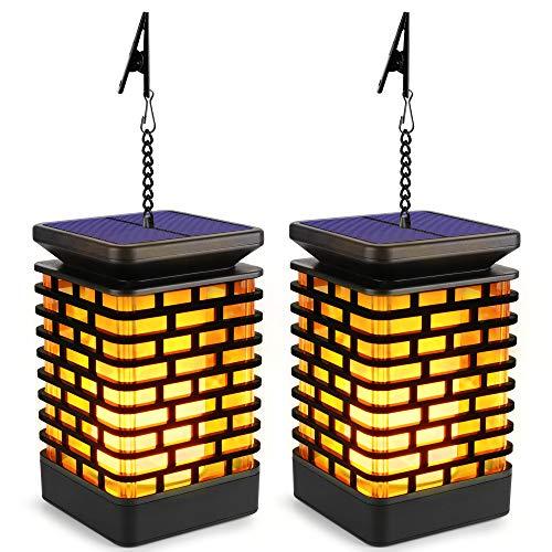 Shinmax Linterna Solar Colgante Exterior, Linterna Solar Suspendida Powered e Impermeable Dance Linterna Lluminación Vela Llama Decorativa para Garden Auto On/Off (2 pack)