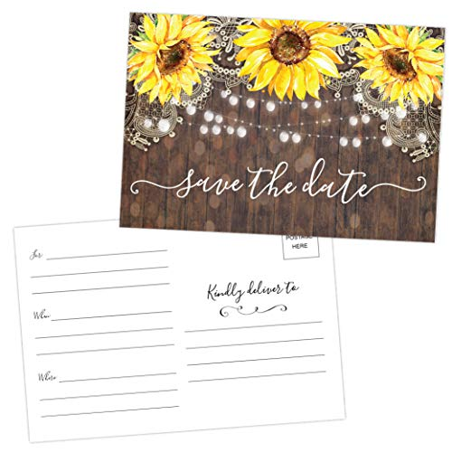 50 Sunflower Save The Date Cards for Wedding, Engagement, Anniversary, Baby Shower, Birthday Party, Wood Save The Dates Postcard Invitations